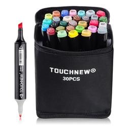 TOUCHNEW Sketch Marker Pen 30 Colors Set Dual Headed Alcohol Art Markers Standard Design Model Black Body + Carry Bag