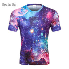 Space galaxy t-shirt for men 3d t-shirt funny print cat horse shark cartoon fashion summer t shirt tops tees plus size(China)