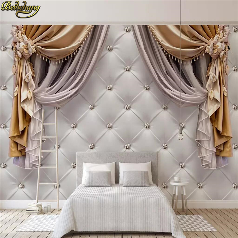 beibehang Custom European curtain soft bag Photo Wallpaper Living Room Bedroom Sofa Background Painting Background 3D wall paper image