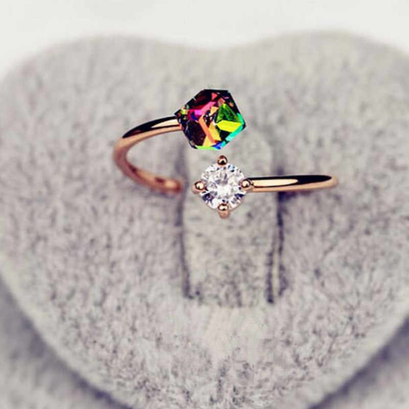 Valentine's Day Imitation Rose Gold Retro Zircon Ring Korean Influx Lady Ring