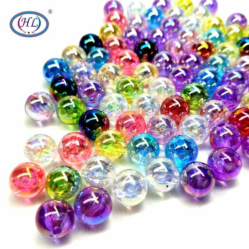 HL 30/50/120PCS 10MM AB Acrylic Loose Beads Lots Colors Have Hole Handmade DIY Jewelry Bracelet Necklace Making Wholesale