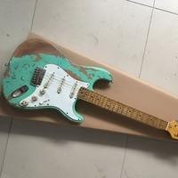Custom Shop 100% ручной работы состаренная электрогитара высокое качество surf Зеленый реликвия гитары Бесплатная доставка limited выпуск