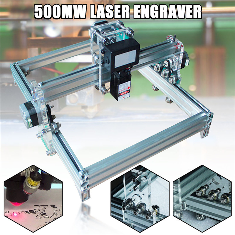 32x23cm 500mW DIY Desktop Mini CNC Carving Laser Engraving Engraver Machine DC 12V Wood Cutter/Printer Kit + Laser Goggles jz 5 diy 500mw mini usb laser engraving machine stamp carving machine laser cutter for windows xp 7 8 10
