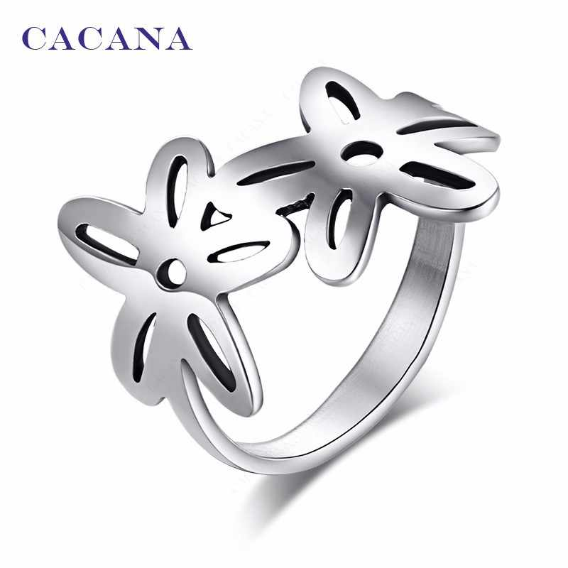 CACANA  Stainless Steel Rings For Women With Double Flower Fashion Jewelry Wholesale NO.R144