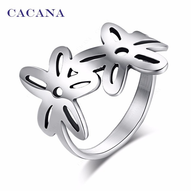 CACANA Titanium Stainless Steel Rings For Women With Double Flower Fashion Jewel