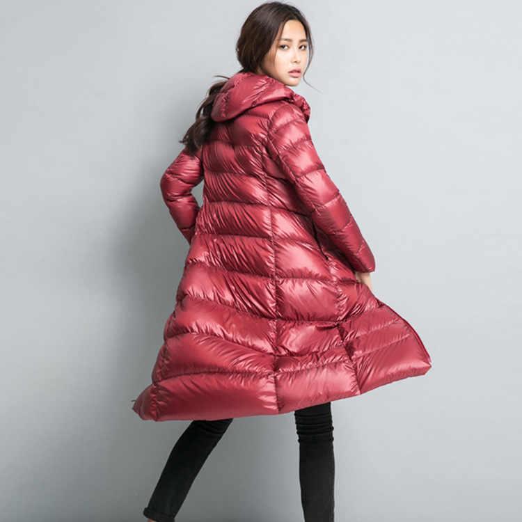 NewBang Брендовое длинное пуховое пальто Женская Легкая стеганая куртка для женщин пуховая куртка зимняя ветровка теплая парка