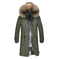 2018 Новая мужская зимняя парка Аляска роскошное пальто армейская Парка мужская стеганая куртка с капюшоном длинное зимнее пальто из натурал
