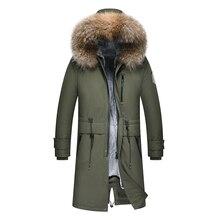 2018 Новая мужская зимняя парка Аляска роскошное пальто армейская Парка мужская стеганая куртка с капюшоном длинное зимнее пальто из натурального меха енота