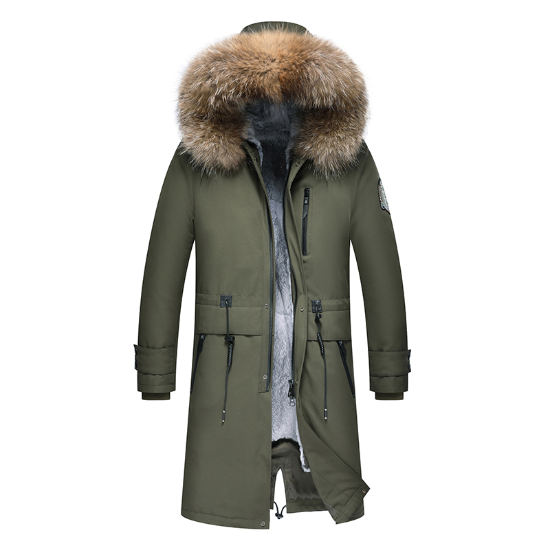 2019 New Men Winter Parka Alaska Luxury Overcoat Army Parka Men Padded Coat Jacket Hooded Long Winter Coat Real Raccoon Fur