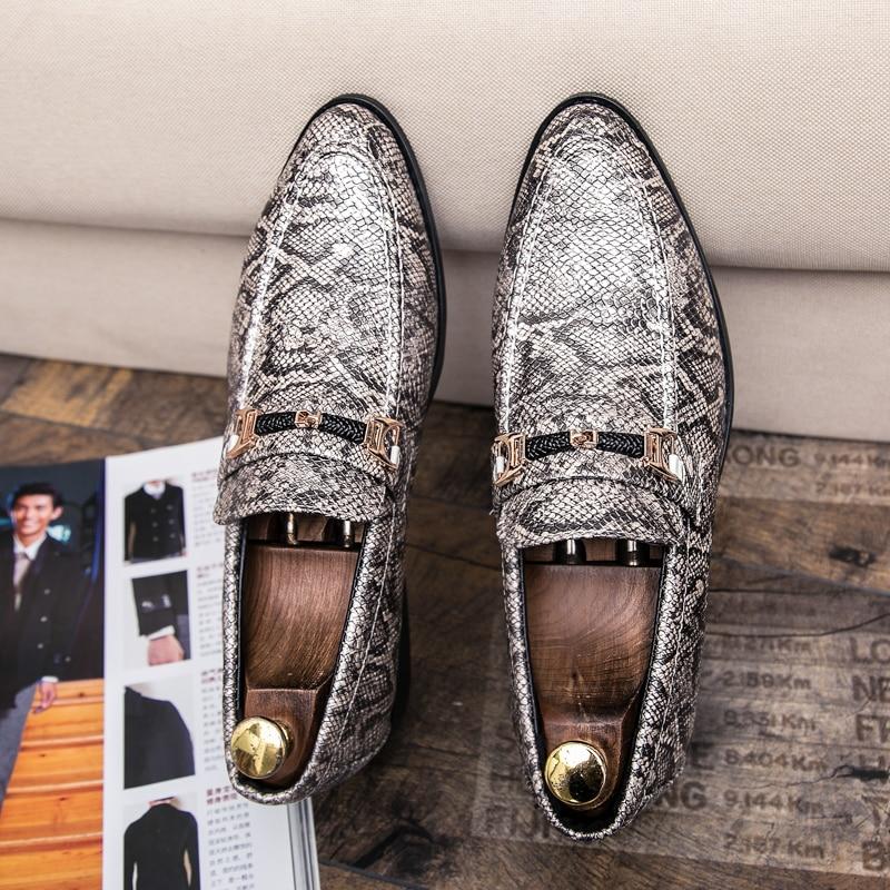 men's snake skin cool platform oxfords patent leather shoes male footwear wedding fashion famous designer brogue shoes for men (3)