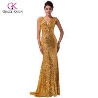 Luksusowe gorgeous złote mermaid suknie wieczorowe grace karin 2017 cekiny niebieski czerwony złoty długi formalne suknie wieczorowe suknie 6052