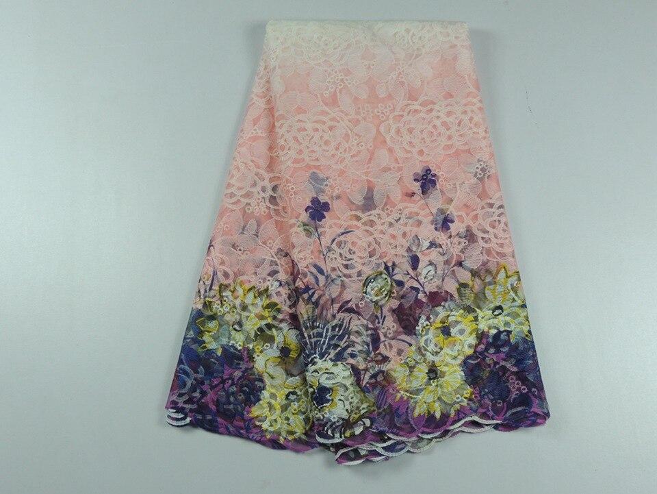 Rosa floral impresso cabo de tecido de renda guipure africano cuipion laço  material têxtil para Nigeriano vestido de casamento das mulheres ae7d50d325