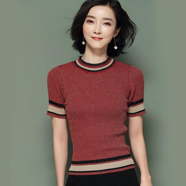 Knitted Pullovers Women Sweaters 2018 New Summer Light Silk Short