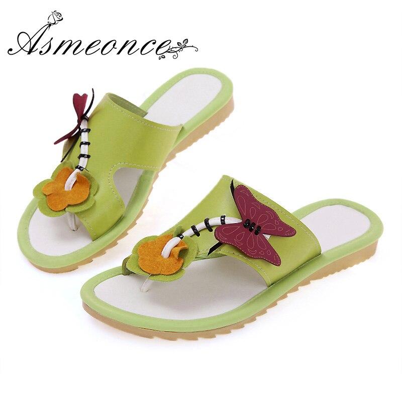 En Belle Cuir Flops D'été Talon Chaussures Nouveau Mignon Plat Femme Papillon Beige Non slip Casual Pantoufles yellow Femmes Frais Fleur green Flip 2W9EDHI