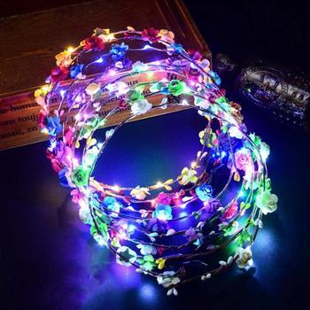 Colorful Christmas Party Glowing Wreath Halloween Crown Flower Headband Women Girls LED Light Up Hair Wreath Hairband Garlands