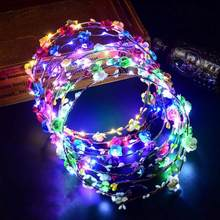 Colorful Christmas Party Glowing Wreath Halloween Crown Flower Headband Women Girls LED Light Up Hair Wreath Hairband Garlands(China)