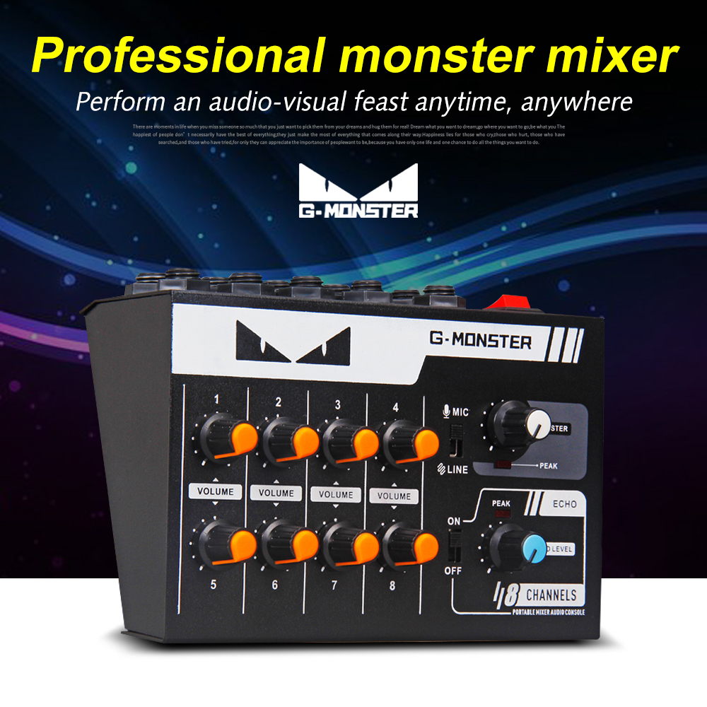 G-MARK 8 Channels Mini Portable Mixer Audio Console Mono/Stereo Sound System Extended For Instrument Microphone Guitar Bass