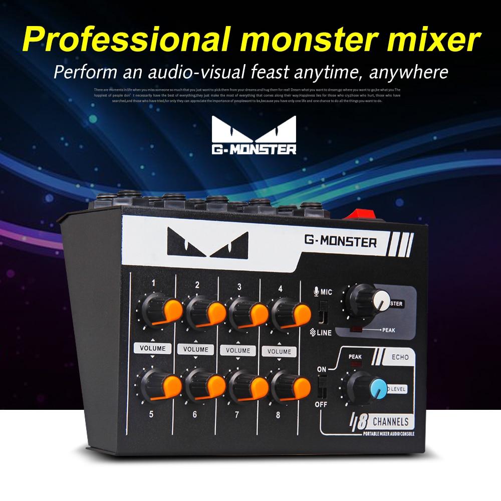 G MARK 8 kanal Mini taşınabilir mikser ses konsolu Mono/Stereo ses sistemi  için genişletilmiş enstrüman mikrofon gitar bas|Professional Audio  Recording