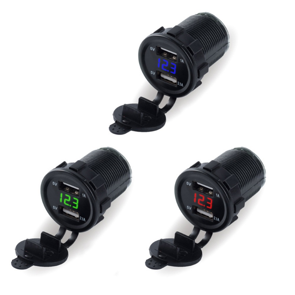 2 Ports Dual 3.1A Power Outlet Car Usb Charger Led Light Blue Red Green DC 12V/ 24V For phone Car Boat Marine Mobile