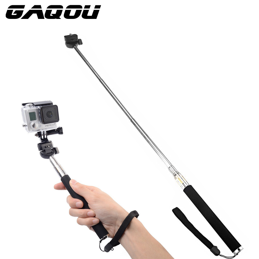 GAQOU Camera Selfie Stick Pole Monopod Tripod Holder Adapter for Gopro Go Pro Hero 6 5 4 3 Sjcam SJ4000 for Xiaomi Yi For Phone for go pro cnc aluminum alloy tripod mount base tripod adapter for gopro hero 5 4 3 3 2 1 sj4000 for xiaomi yi sports camera