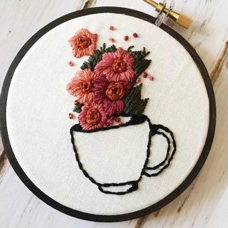 Beautiful Flowers Patterns DIY Cross Stitch Kits Needlework Set 3D Embroidery Materials Package Handcraft Sewing Supplies Decor