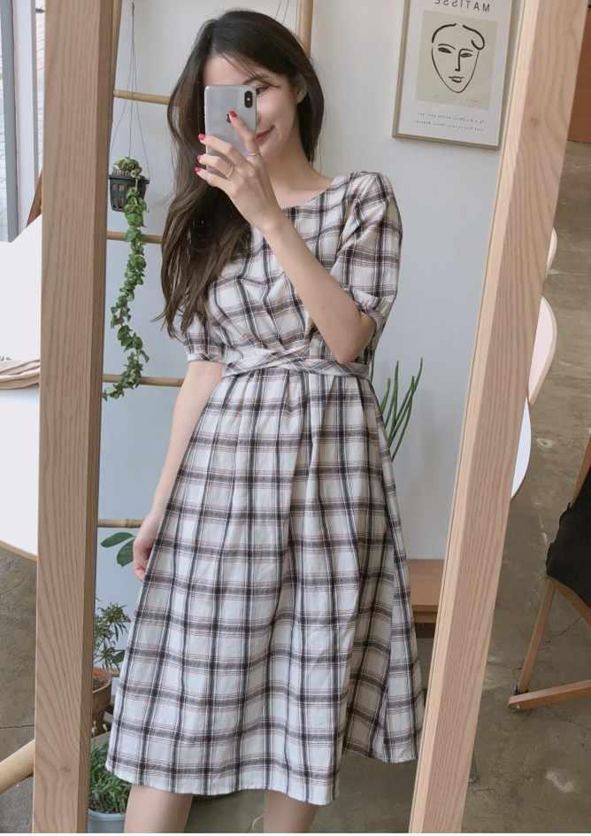 Кружевное летнее платье женское хлопковое льняное Повседневное платье с коротким рукавом женское платье с круглым вырезом синее клетчатое платье Женская одежда с стиле Бохо Vestido