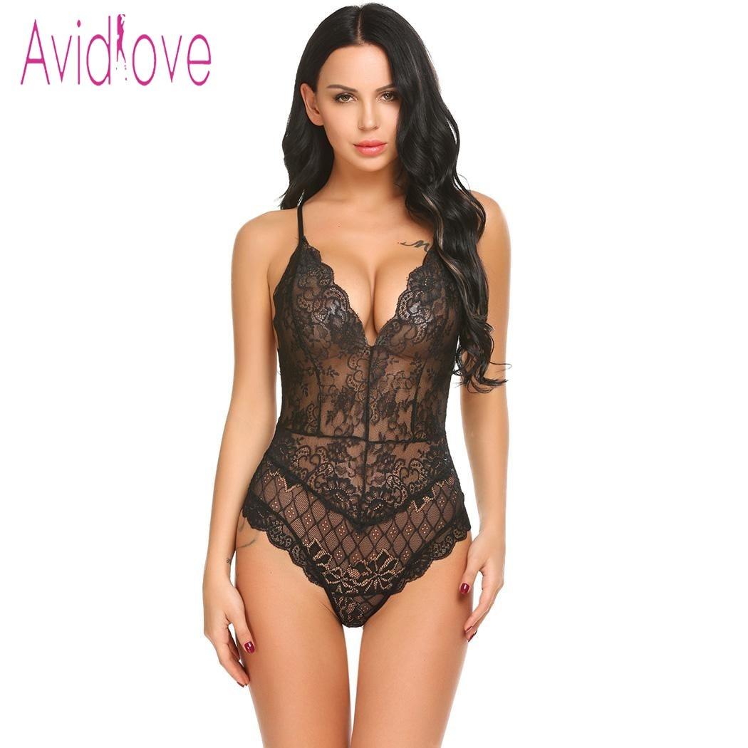 Avidlove 2018 New Lingerie Sexy Hot Erotic Teddy Bodysuit Women Lace Spaghetti Strap Chemise Underwear Langeri Porn Sex Costume