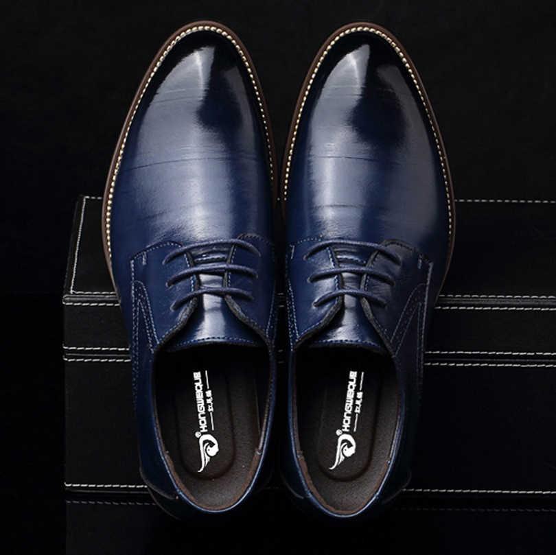 M anxiu PU Leather Derbies Shoes Men
