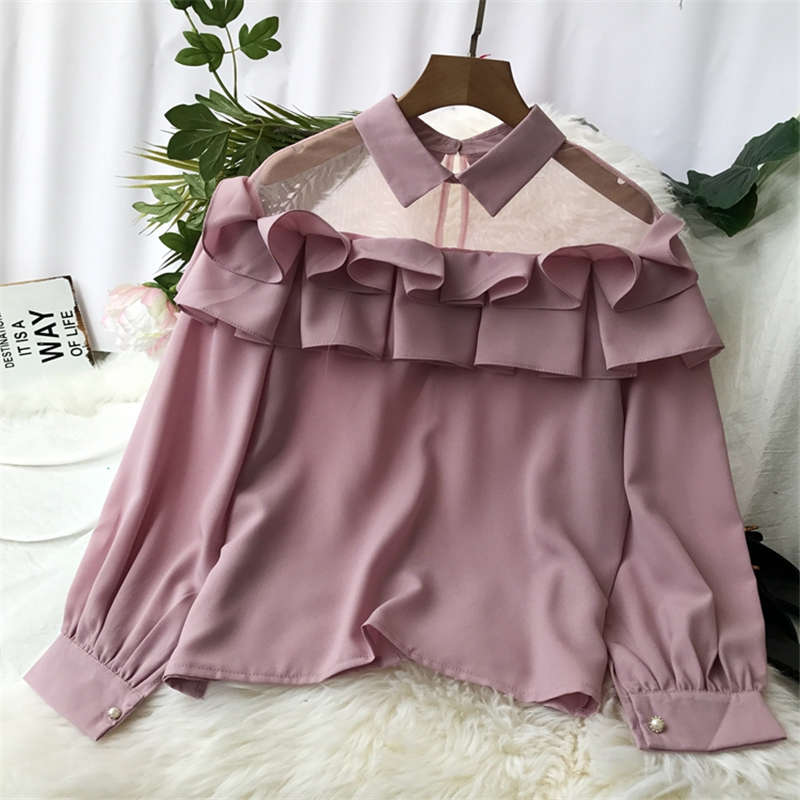 Neploe Short Striped Shirts Sexy Gauze Patchwork Blouse Korean Slim Shirt Blouses 2019 New Women Top Clothing 37353 Back To Search Resultswomen's Clothing