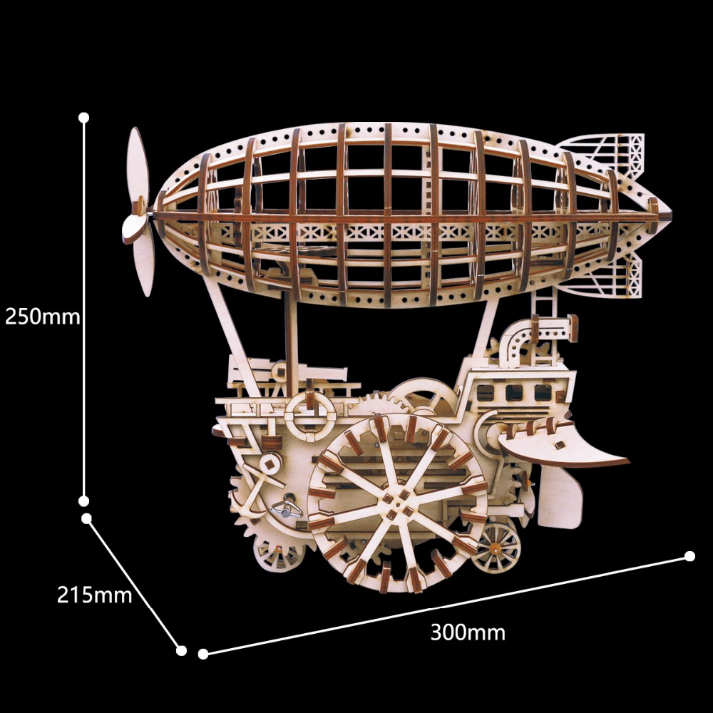 Robotime DIY Moveable Airship Gear Drive by Clockwork 3D Wooden Model Building Kits Toys Hobbies Gift