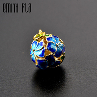 Emith Fla 925 Sterling Silver Cloisonne Enamel Hollow Flower Charm Pendant For Jewelry Making DIY Accessories