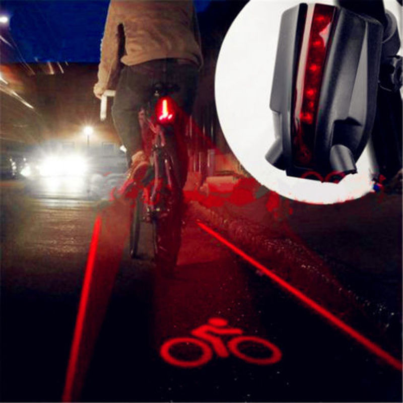 5 LED 2 Laser Cycling Bike Bicycle Flashing Lamp Rear Tail Safety Warning Light