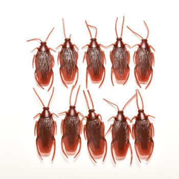 10pcs/lot Model Simulation Fake Rubber Prank Funny Trick Joke Toys Cockroach Cock Roach Bug Roaches Toy 4*1.8cm image
