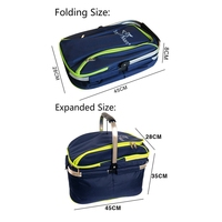 Outdoor Folding Picnic Bag Portable Large Camping Food Storage Basket Portable Insulation Meal Bag Camping Hiking Picnic Bag O