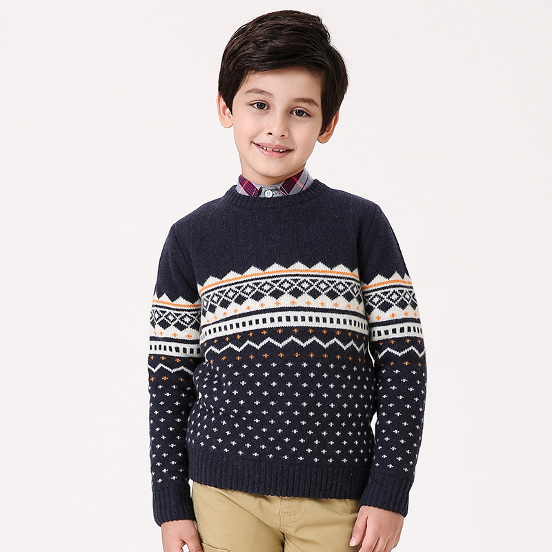 T100 Children Sweater Cotton Toddler Boy Sweater O-neck Long Sleeve Knitted Boy Sweater Brand Pullover Cute Pattern Boys Clothes v neck layered long sleeve pullover sweater