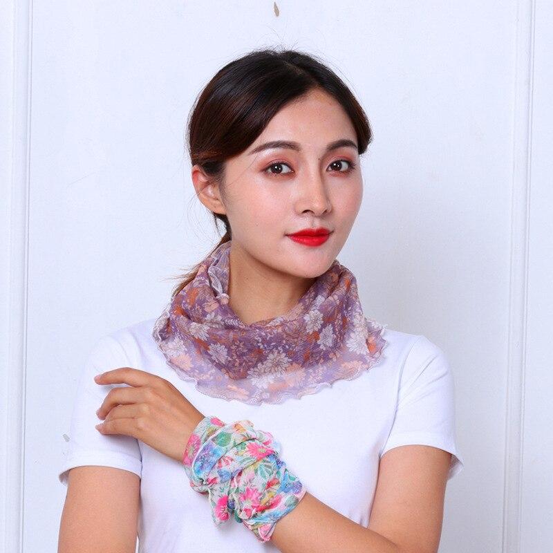 Neck Scarf Hijab Face-Mask Foulard Silk Chiffon Women Summer Fashion Print Sunscreen