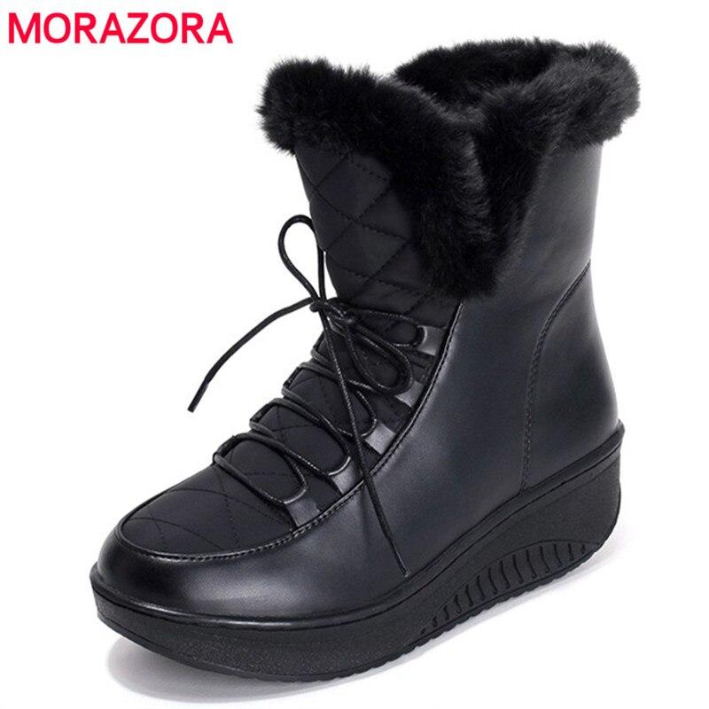 MORAZORA 2017 nova Rússia inverno botas de neve pele grossa dentro de sapatos de plataforma mulher cunhas das mulheres do salto tornozelo botas sapatos femininos