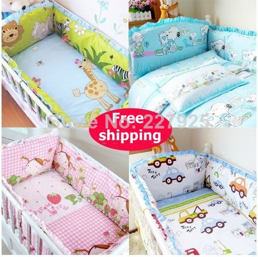 Newborn Baby Bumpers Sest 100%Cotton Crib Bumper Unisex Cartoon Bed Safe Around Baby Bedding+Sheet+pillowcase 6pcs