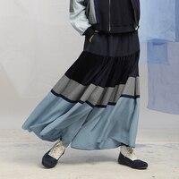 IRINAW030 new arrival 2018 original design casual loose elastic waist long patchwork wide leg skirt pants women