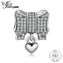 Jewelrypalace 925 Sterling Silver Cluster Cubic Zirconia Bowknot Dangle Heart Beads Charms Fit Bracelets Gifts For Her Jewelry