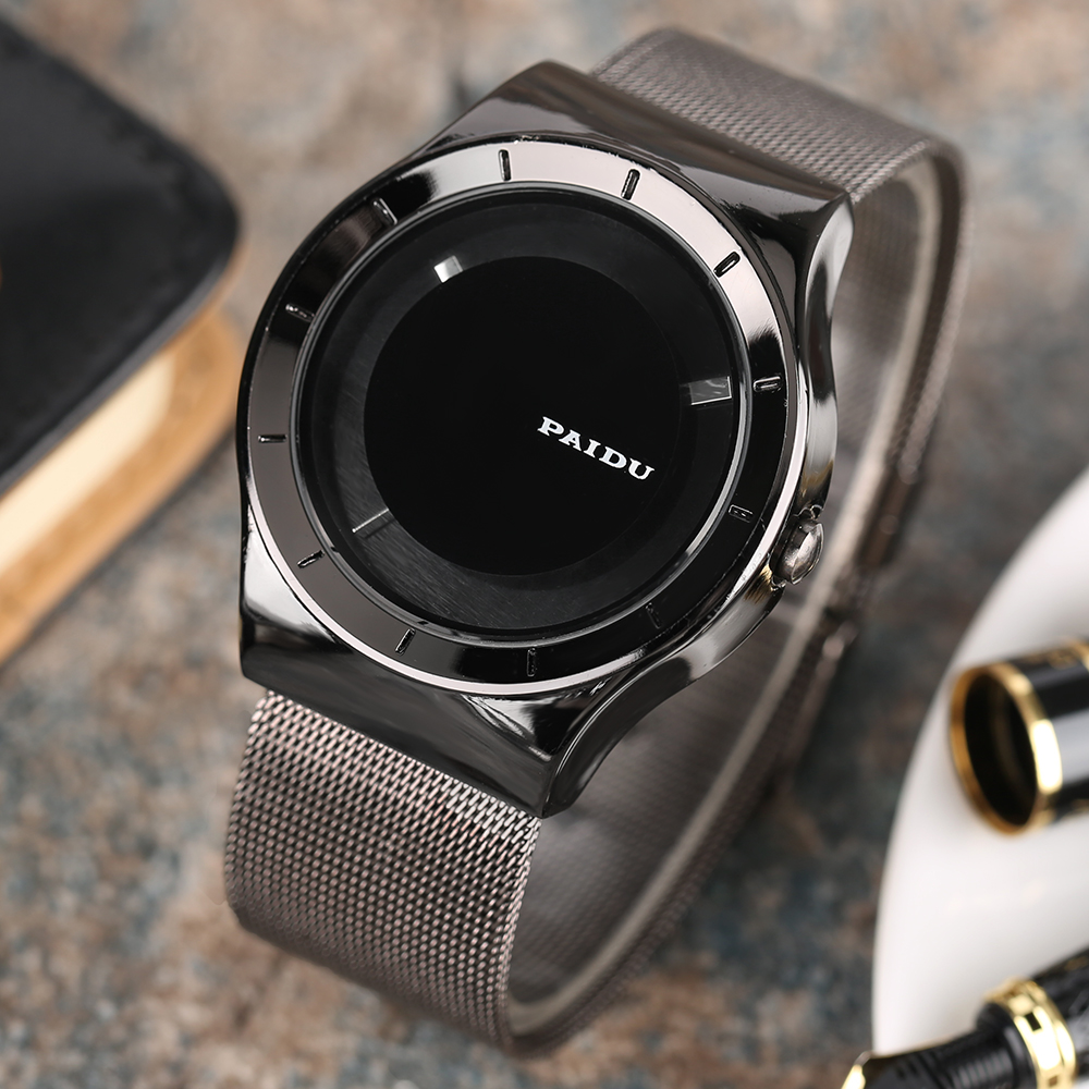 PAIDU Ultra Thin Men Wrist Watch Full Black Turntable Metal Quartz Creative Watches Casual Stainless Steel Mesh Band Males Watch ultra black