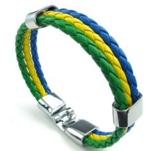 Jewelry Mens Womens PU Leather Braided Soccer Fan Nation Wristband Team Feather Bracelet Brazil Flag Cuff Green Yellow Blue