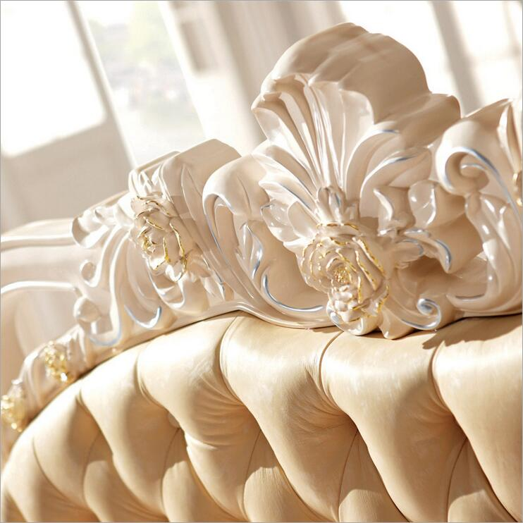 modern european solid wood bed Fashion Carved leather french bedroom furniture p10101 in Beds from Furniture