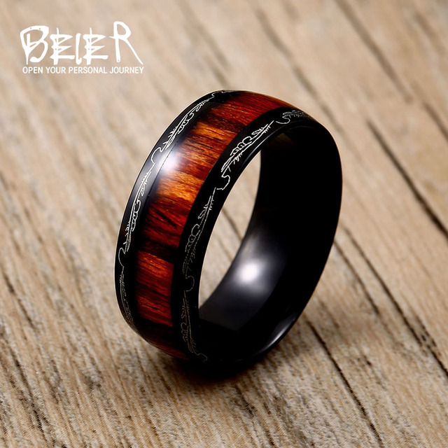 316L Stainless Red Woodiness For Man Titanium Steel High Polished Man's Fashion