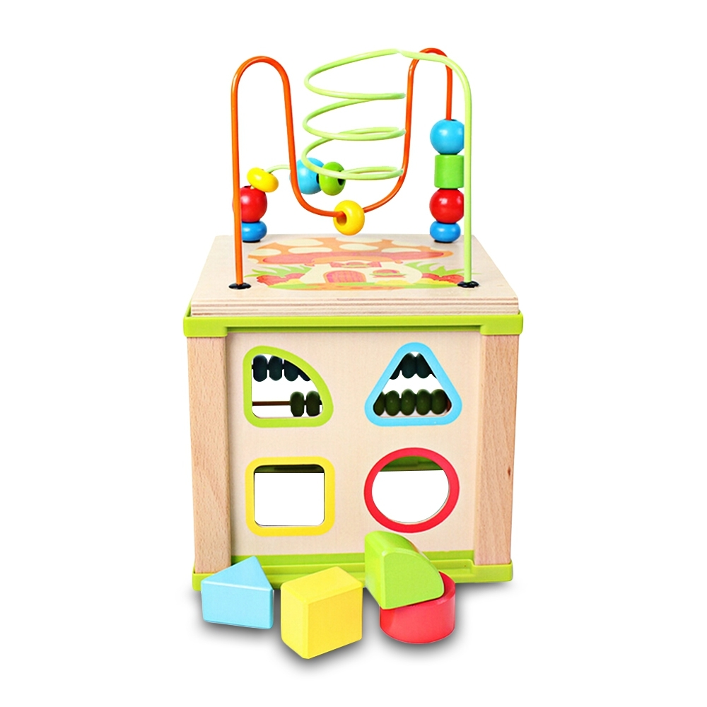 Baby Educational Toy Multifunctional Kids Wooden Bead Maze Activity Cube Intelligence Funny Early Learning Toys For Chidren Gift (1)