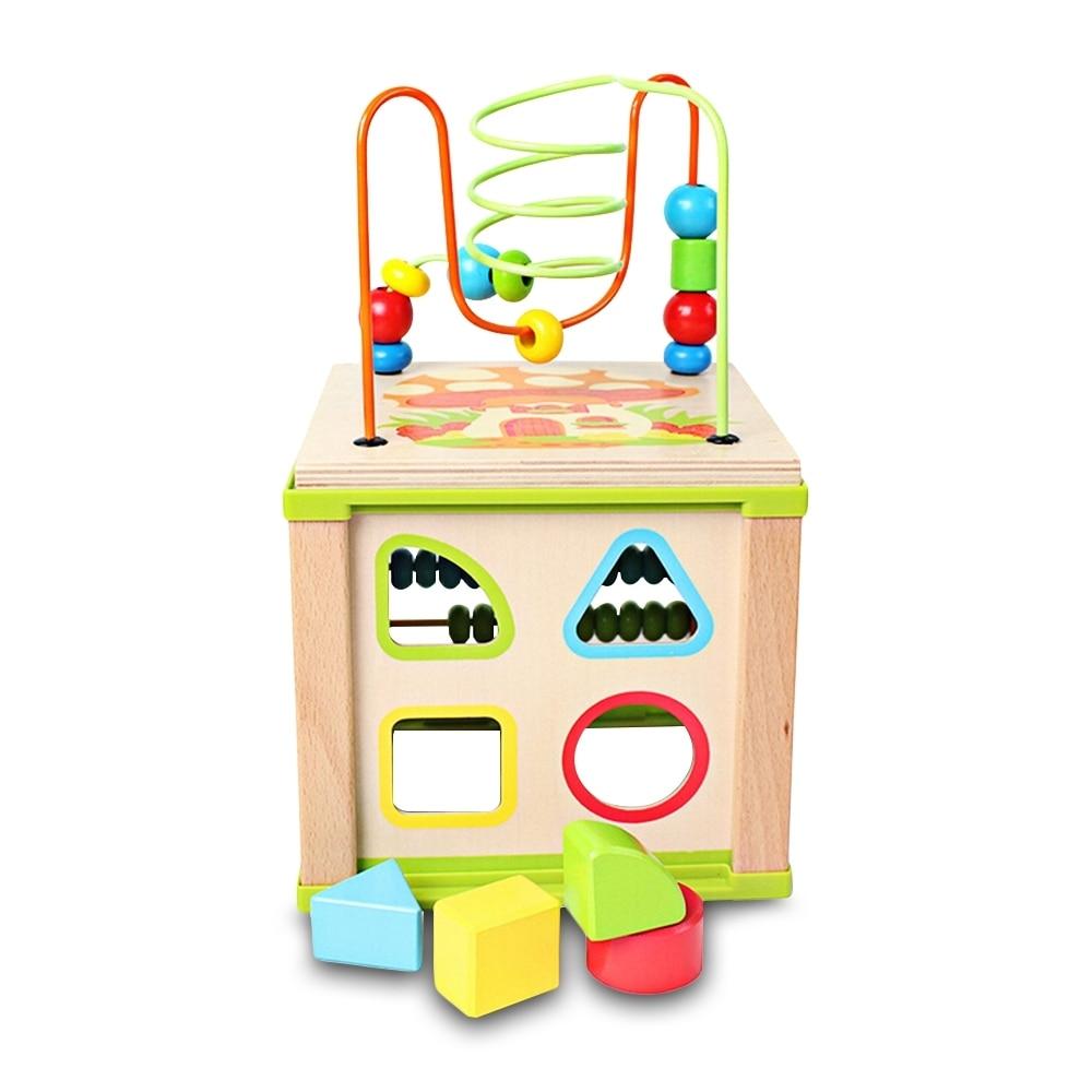 Juguete educativo para bebés, niños multifuncionales, cuentas de madera, laberinto, actividad, cubo, inteligencia, divertidos juguetes de aprendizaje temprano para regalo de niños (1)