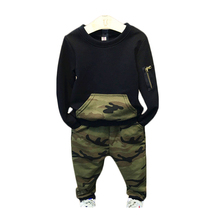 Children Clothing Sets 2016 Autumn sport suit full sleeves blouse+camouflage pants suits Kids cotton tracksuit 2-8 years outdoor