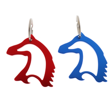 Aluminum Alloy Horse Head Pattern Beer Bottle Opener with Key Ring Keychain Bag Pendent Blue/Red