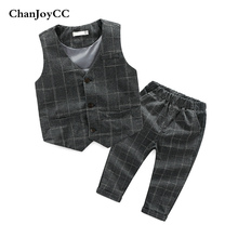 Baby Boys Gentleman Set Spring Autumn New Fashion Kids Plaid Vest + Pant Two-piece High Quality Suit Children Clohing