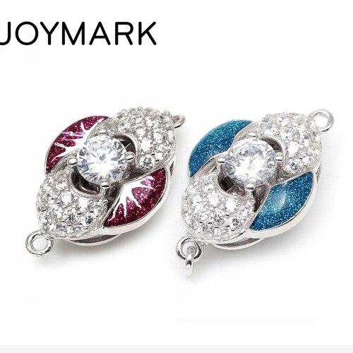 Hot violet et bleu émail Zircon Pave solide en argent Sterling boîte fermoirs crochets bijoux accessoires pour collier de perles SC-BC222